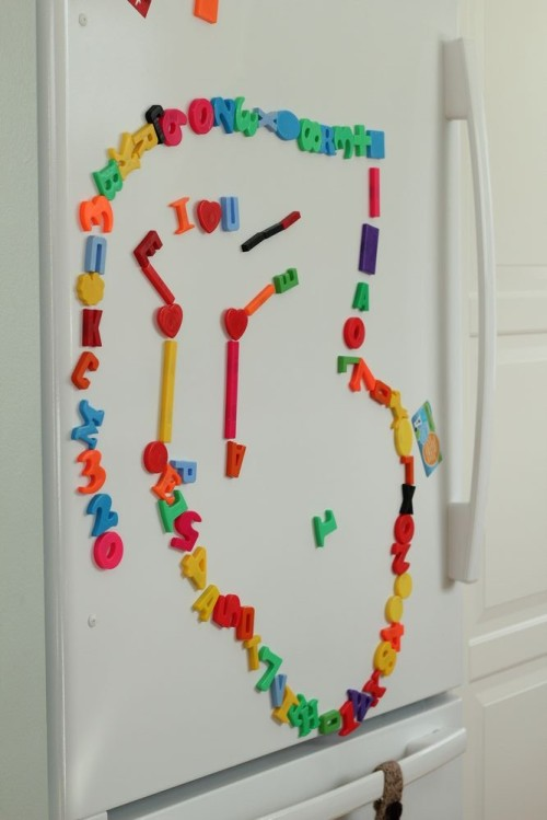 A path Asher made on the fridge. Can you see the special message hidden in it?