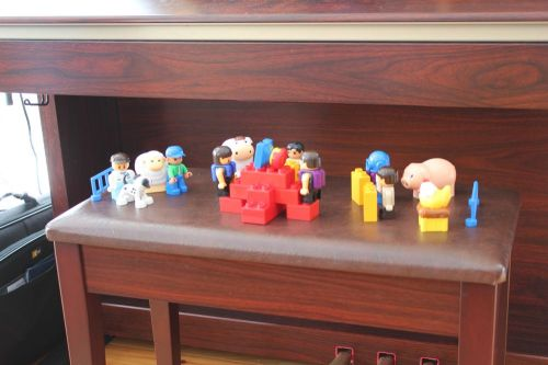 """A  Duplo """"activity scene"""" (nativity scene) created by Asher (5) today (and you really must biggerize it and take a good look; it's precious)"""