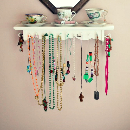 diy teacup jewelry organizer shelf