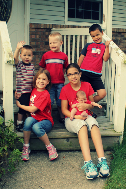 From L-R: Silas (2), Ellery (9 - 4th grade), Callan (4 - preK), Maya (11 - 6th grade), Lyra (six weeks!), Asher (6 - 1st grade)